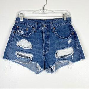 LEVI'S 501 Distressed Jean Denim Cutoff Shorts 28